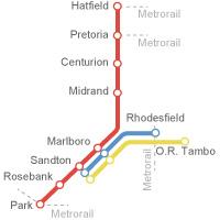 Streckennetz der drei Gautrain Linien